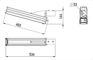 Светодиодные светильник GSUO-20с кронштейном на 20°